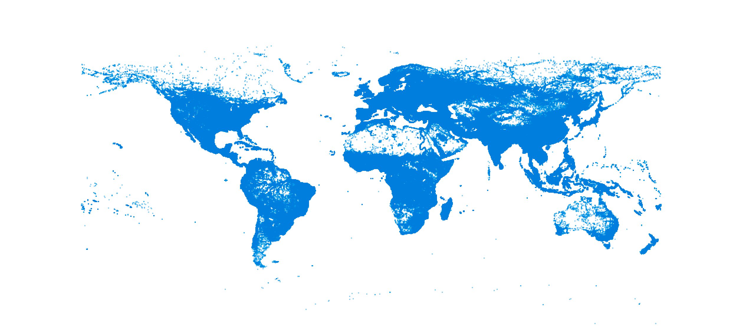 World map in blue, more dots after GeoNames import
