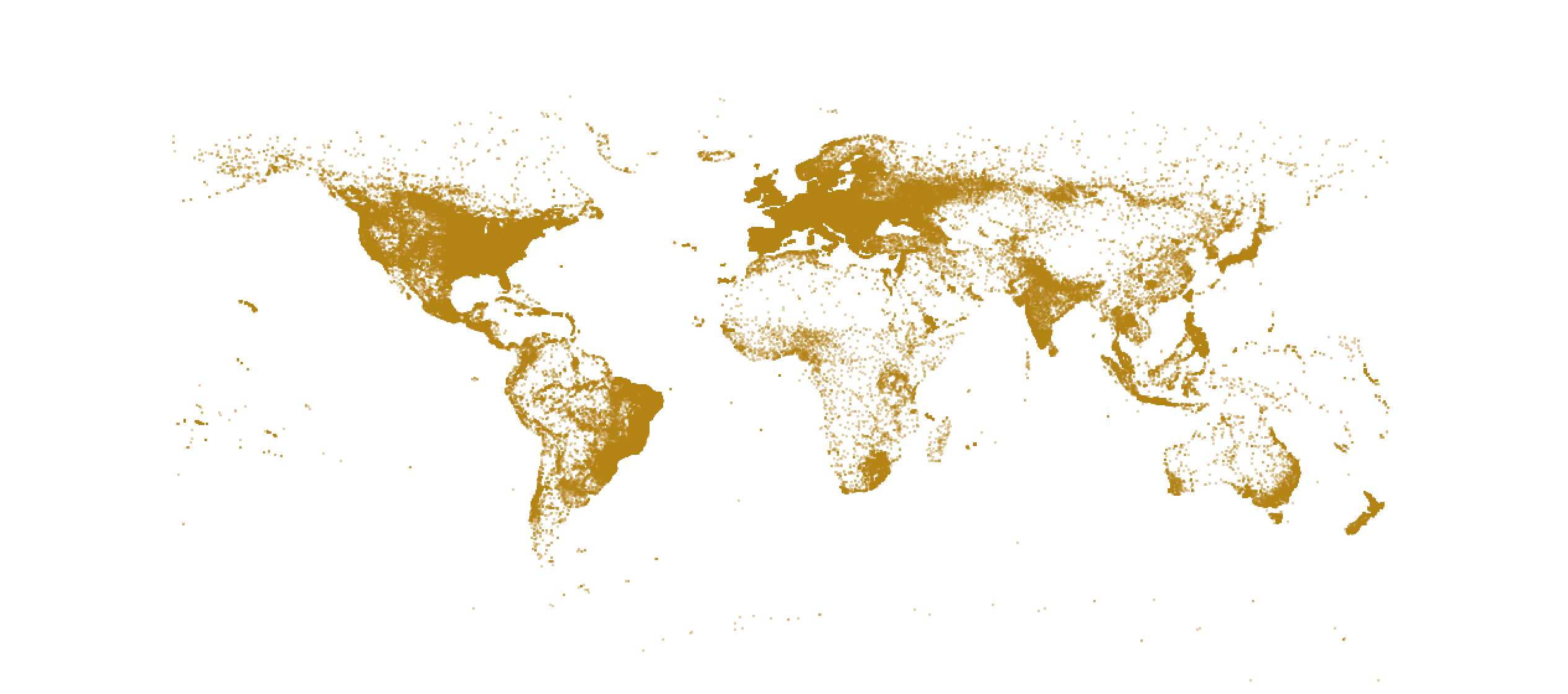 World map in brown, less dots